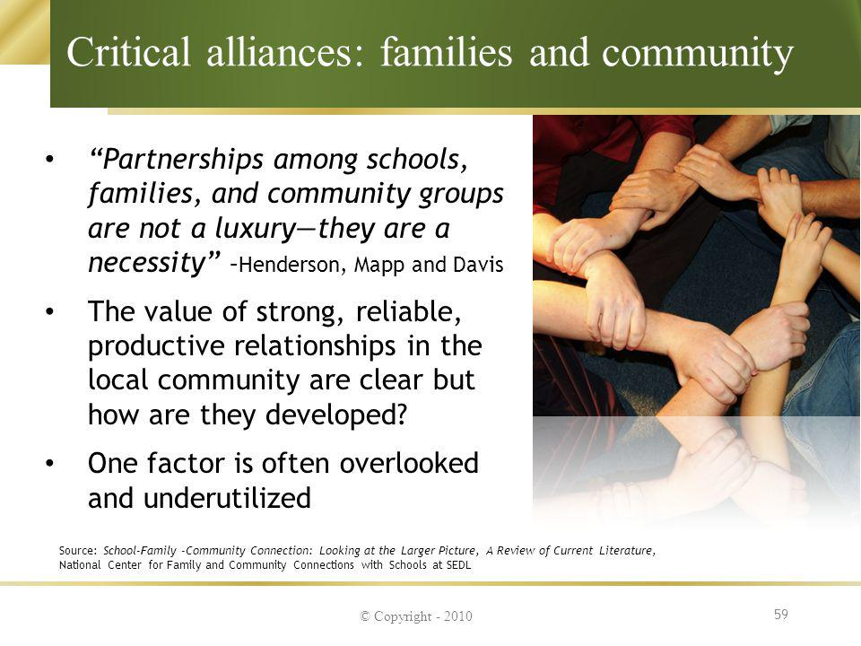 Critical alliances: families and community