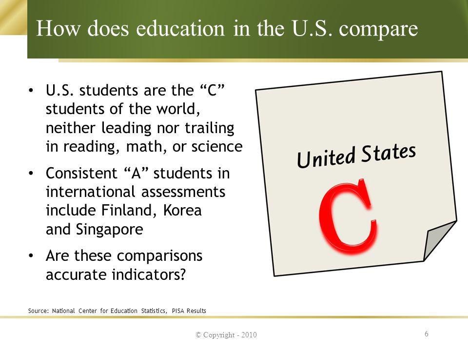 How does education in the U.S. compare