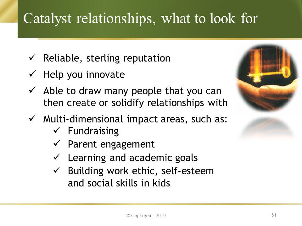 Catalyst relationships, what to look for