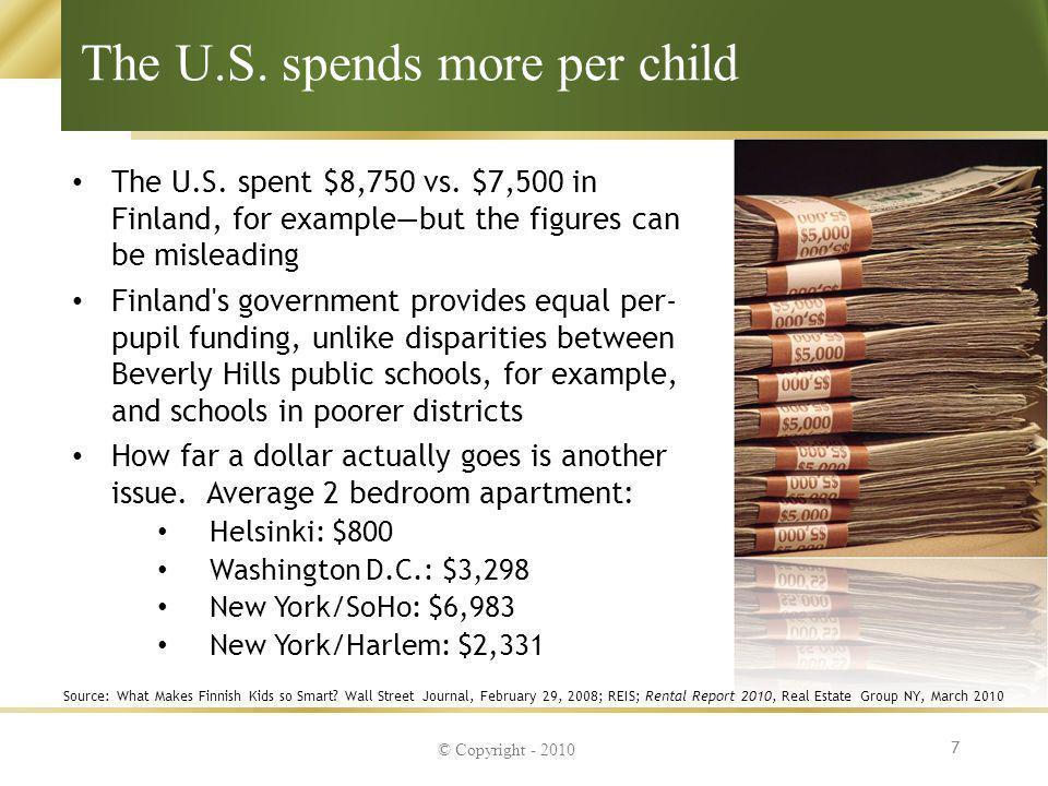 The U.S. spends more per child