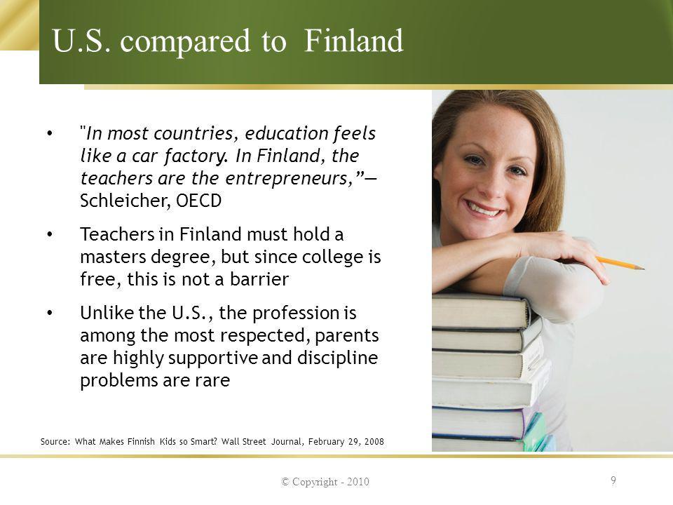 U.S. compared to Finland