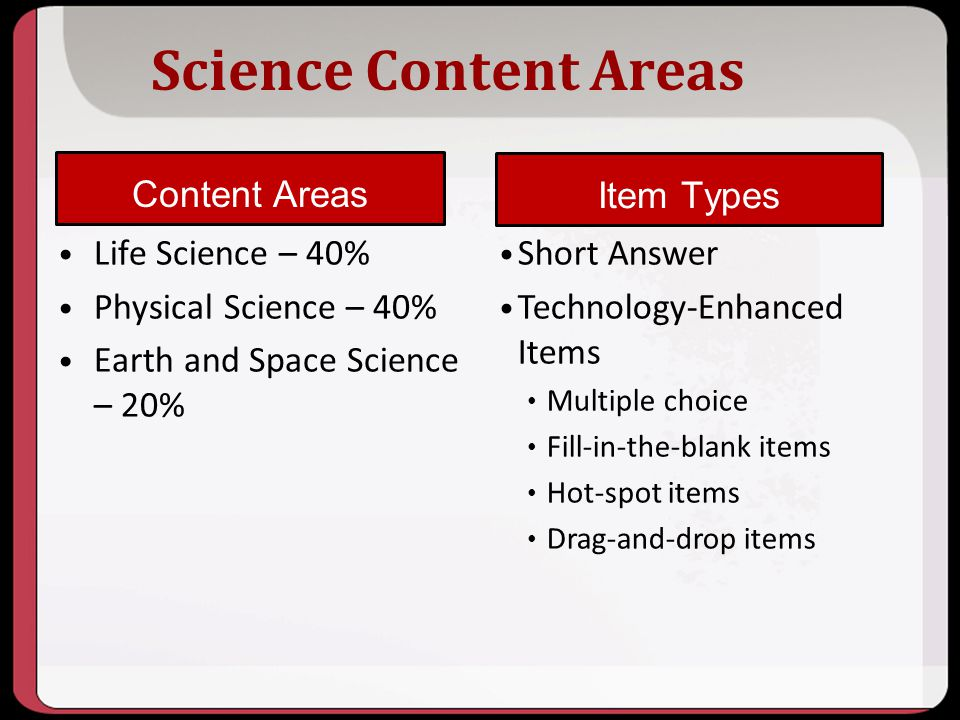 Science Content Areas Content Areas Item Types Life Science – 40%