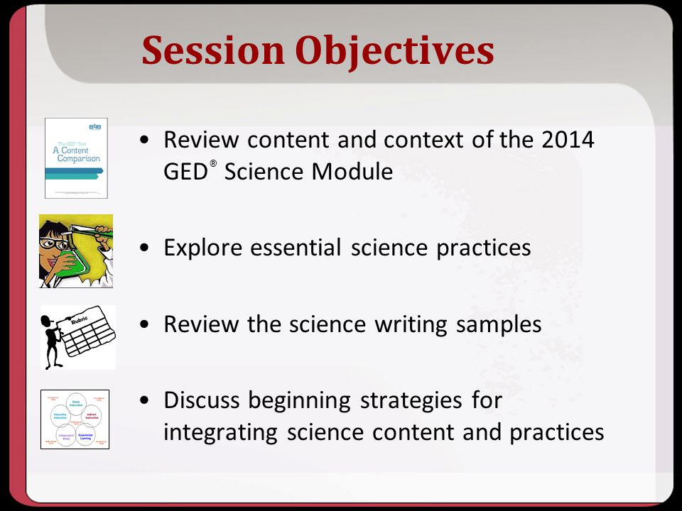 10/2013 Session Objectives. Review content and context of the 2014 GED® Science Module. Explore essential science practices.