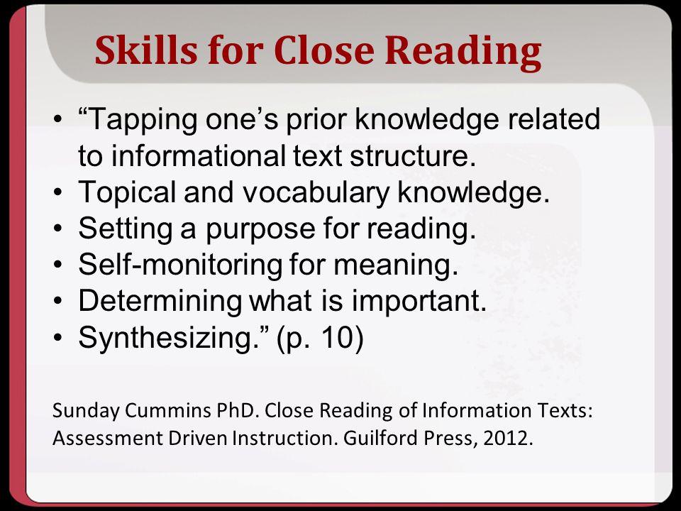 Skills for Close Reading