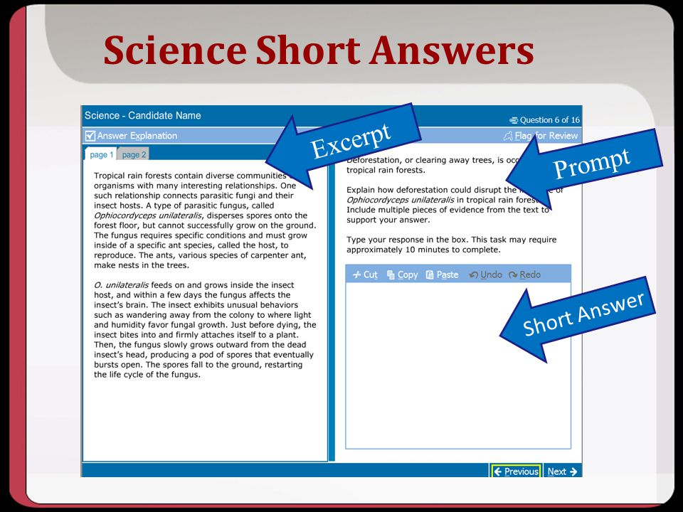 Science Short Answers Excerpt Prompt Short Answer Key Points