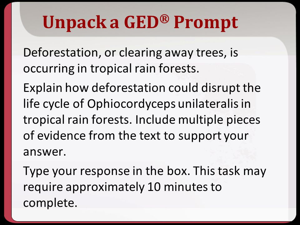 10/2013 Unpack a GED® Prompt.