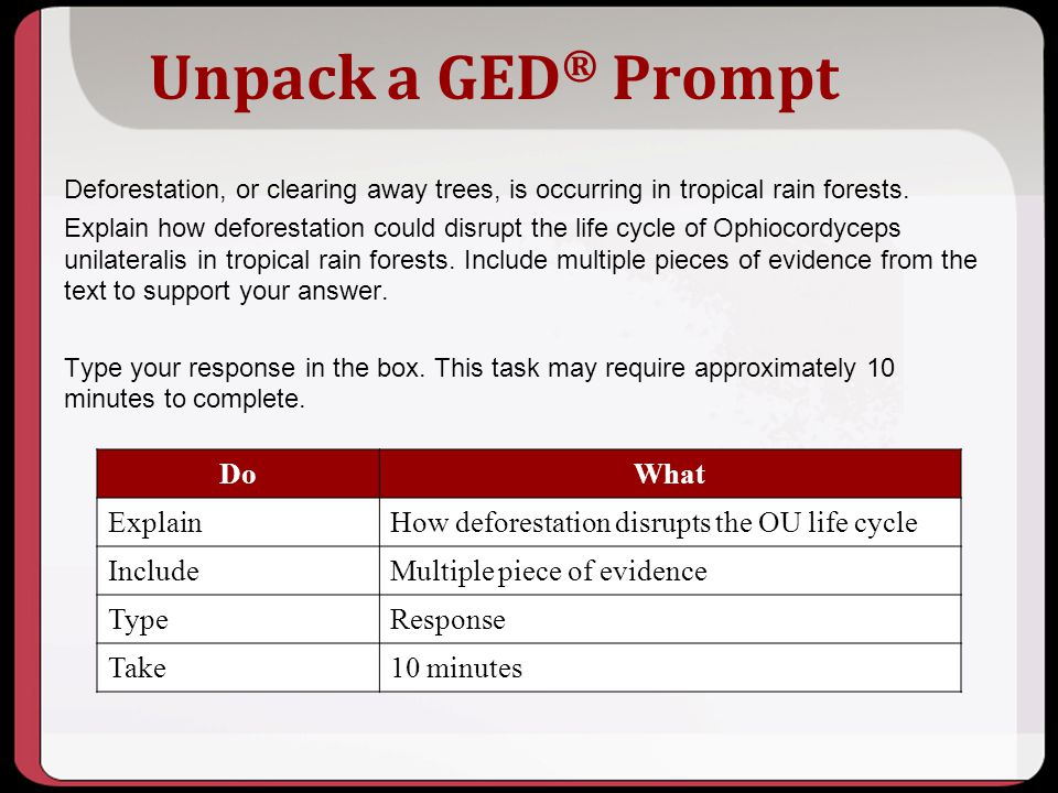Unpack a GED® Prompt Do What Explain