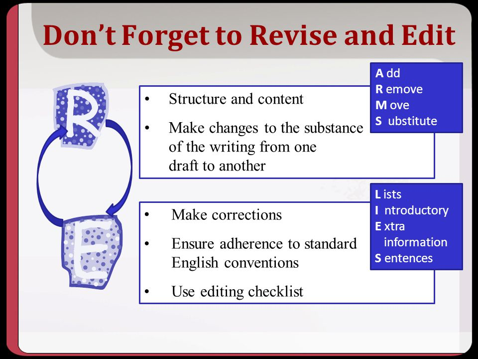Don't Forget to Revise and Edit