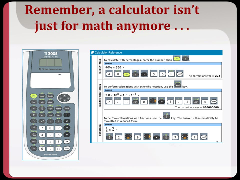 Remember, a calculator isn't just for math anymore . . .