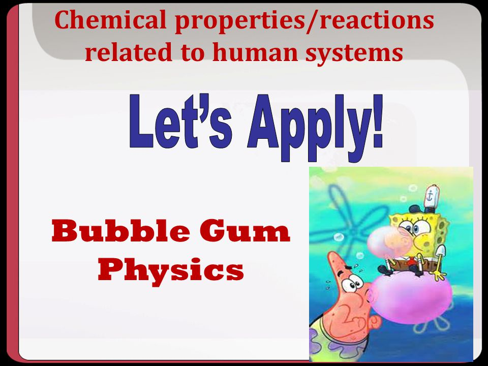 Chemical properties/reactions related to human systems
