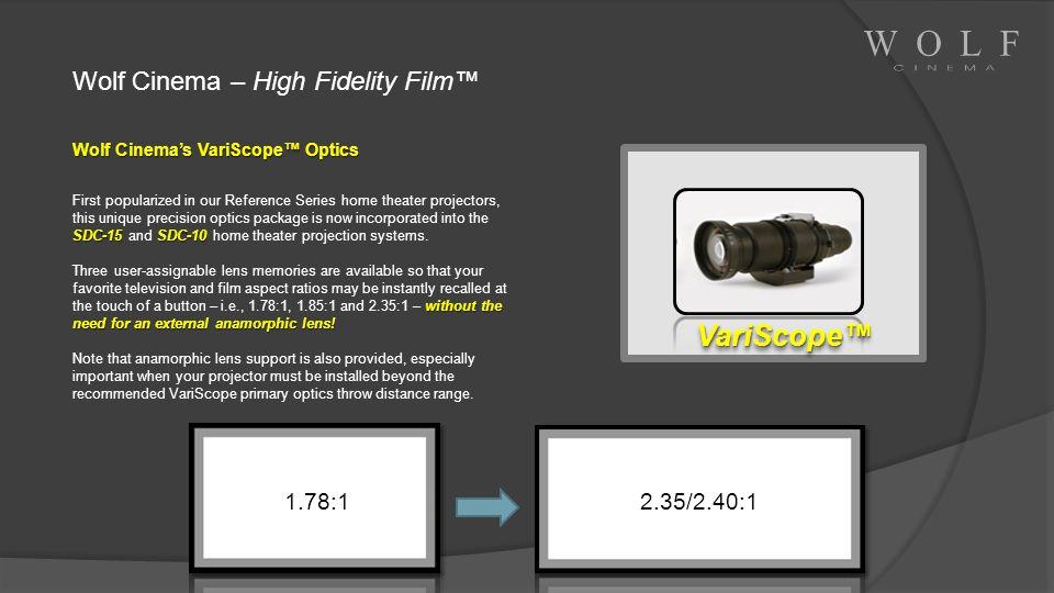 VariScope™ Wolf Cinema – High Fidelity Film™ 1.78:1 2.35/2.40:1