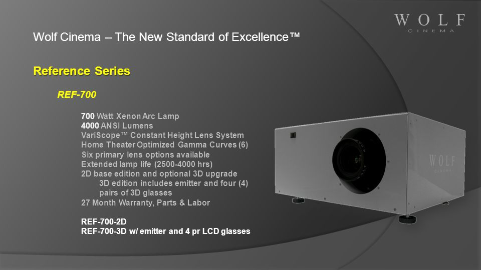 Wolf Cinema – The New Standard of Excellence™ Reference Series