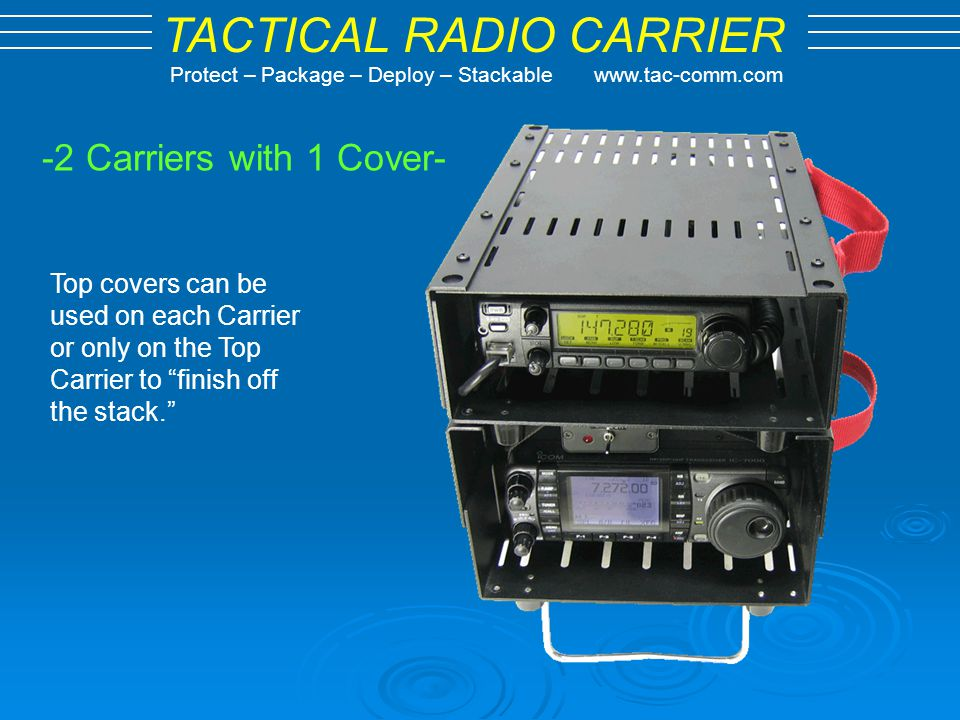 -2 Carriers with 1 Cover- Top covers can be used on each Carrier or only on the Top Carrier to finish off the stack.
