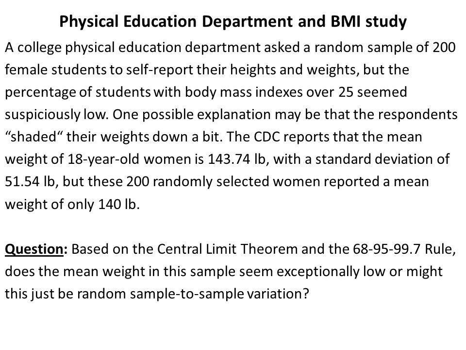 Physical Education Department and BMI study