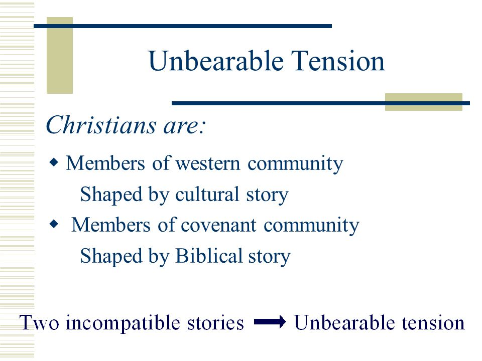 Unbearable Tension Christians are: Members of western community