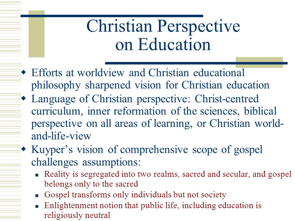 Christian Perspective on Education