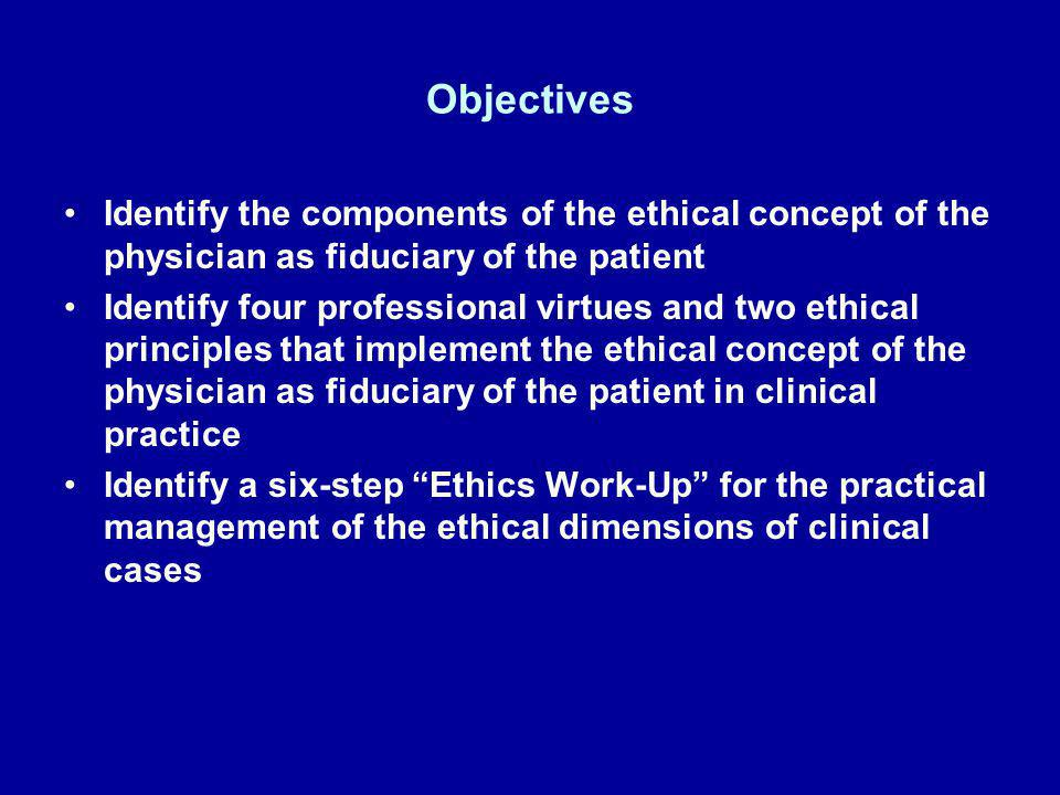 Objectives Identify the components of the ethical concept of the physician as fiduciary of the patient.