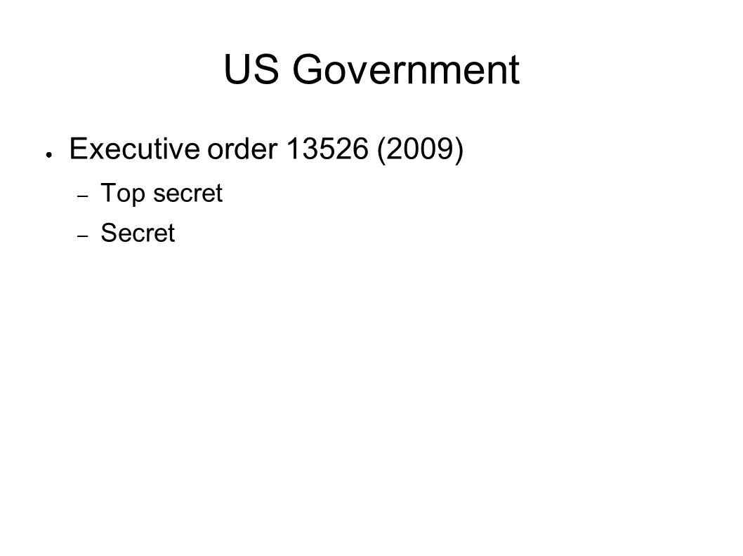 US Government Executive order 13526 (2009) Top secret Secret