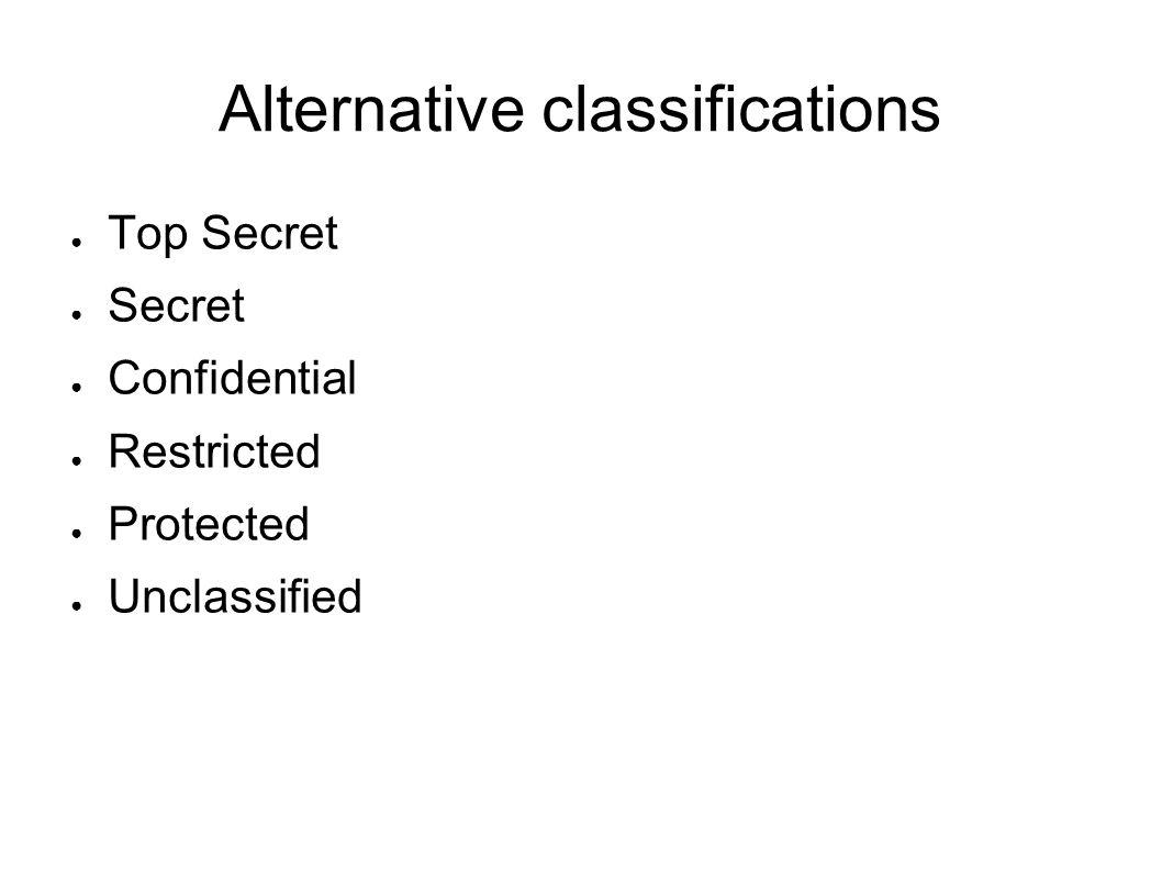 Alternative classifications
