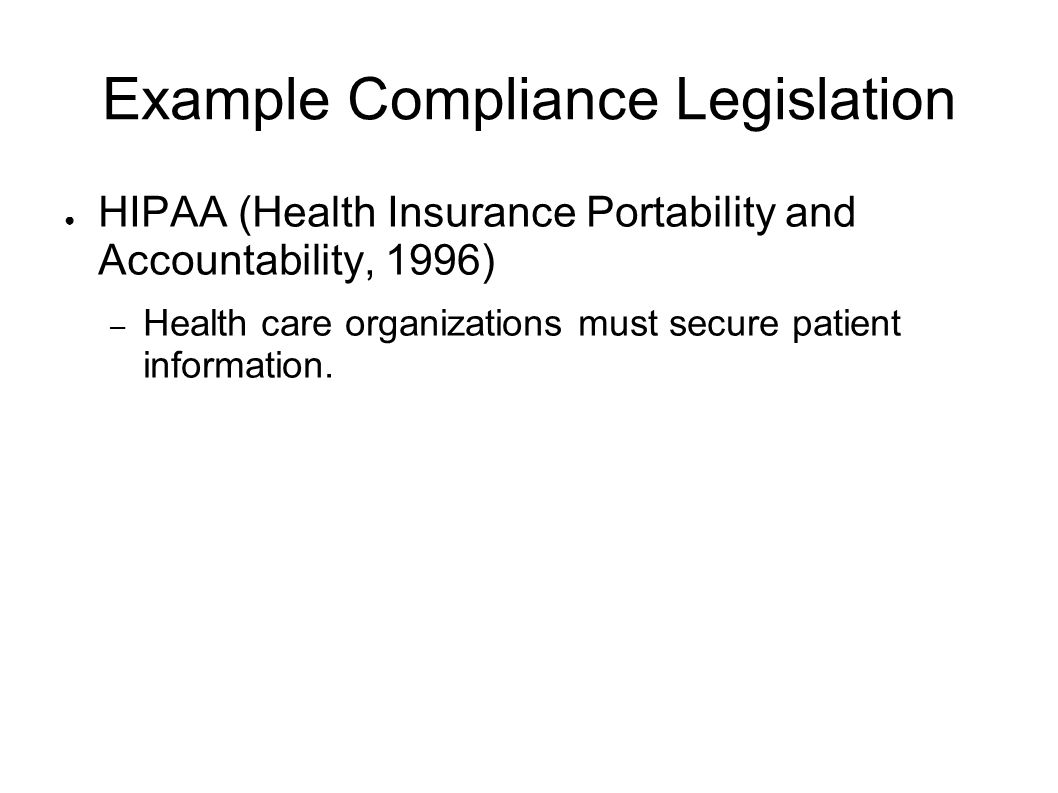 Example Compliance Legislation