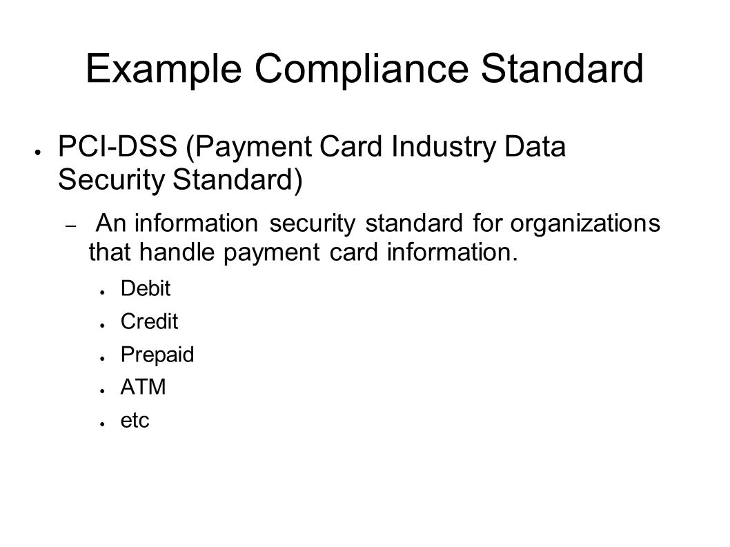 Example Compliance Standard