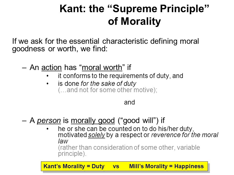 an overview of the motive for a moral action and the moral duty by kant Immanuel kant (1785) general so that the law makes duty the motive of the action considered according to moral laws an action is called an act — or moral.