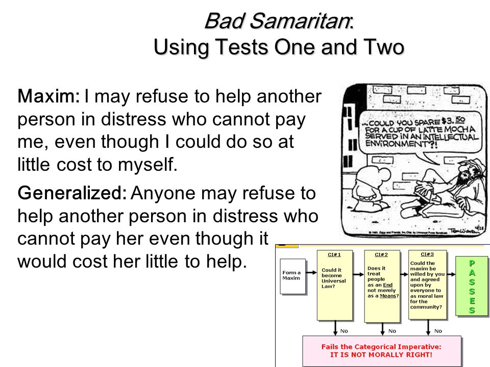 Bad Samaritan: Using Tests One and Two
