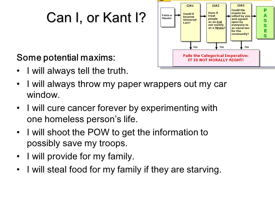 Can I, or Kant I Some potential maxims: I will always tell the truth.