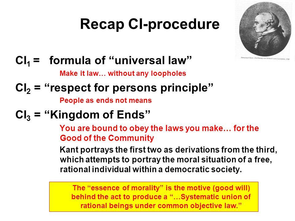 Recap CI-procedure CI1 = formula of universal law