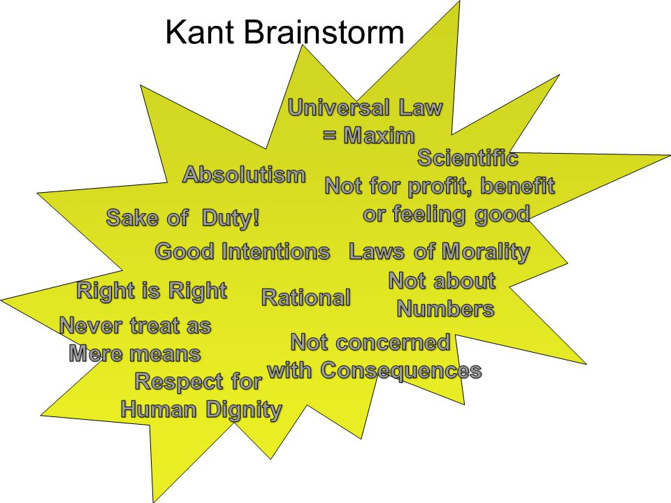 Kant Brainstorm Universal Law = Maxim Scientific Absolutism