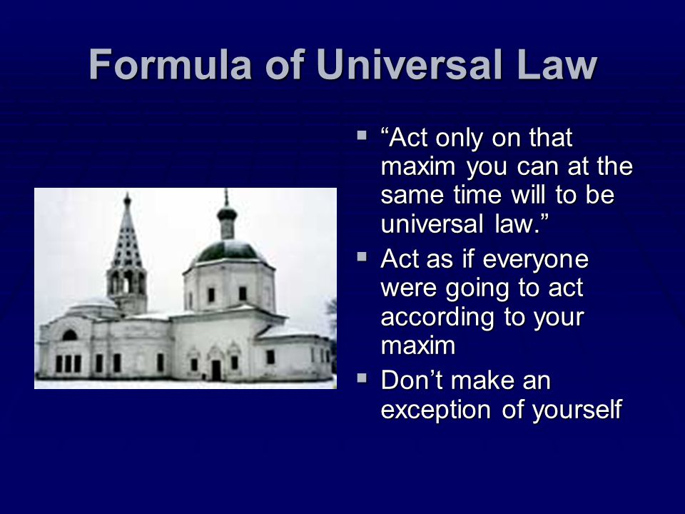 Formula of Universal Law