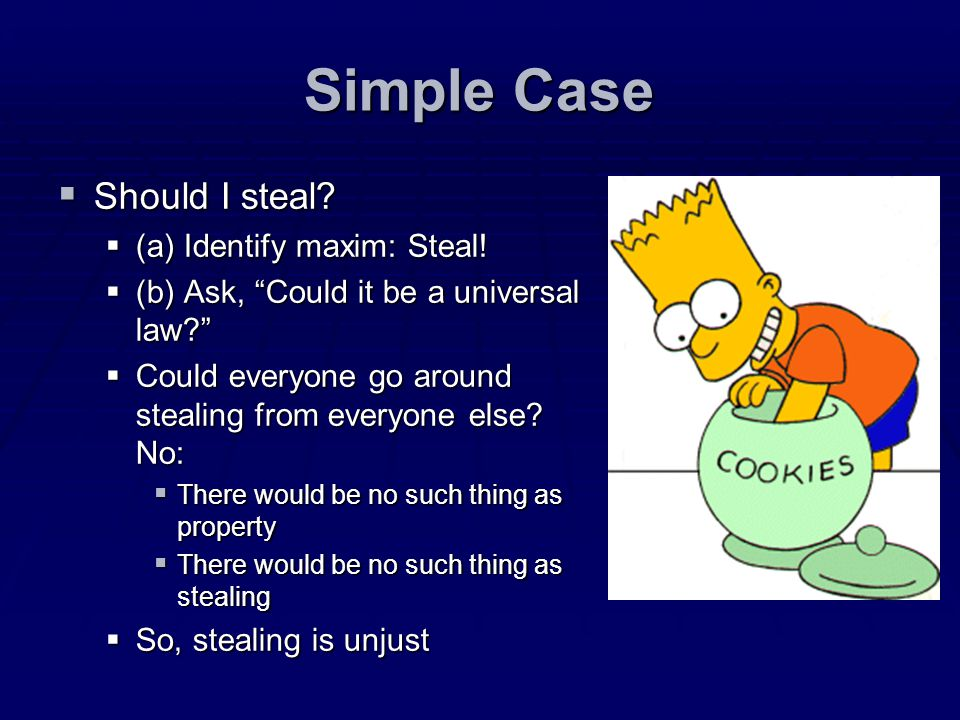 Simple Case Should I steal (a) Identify maxim: Steal!