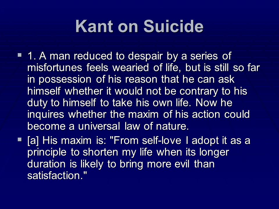 Kant on Suicide