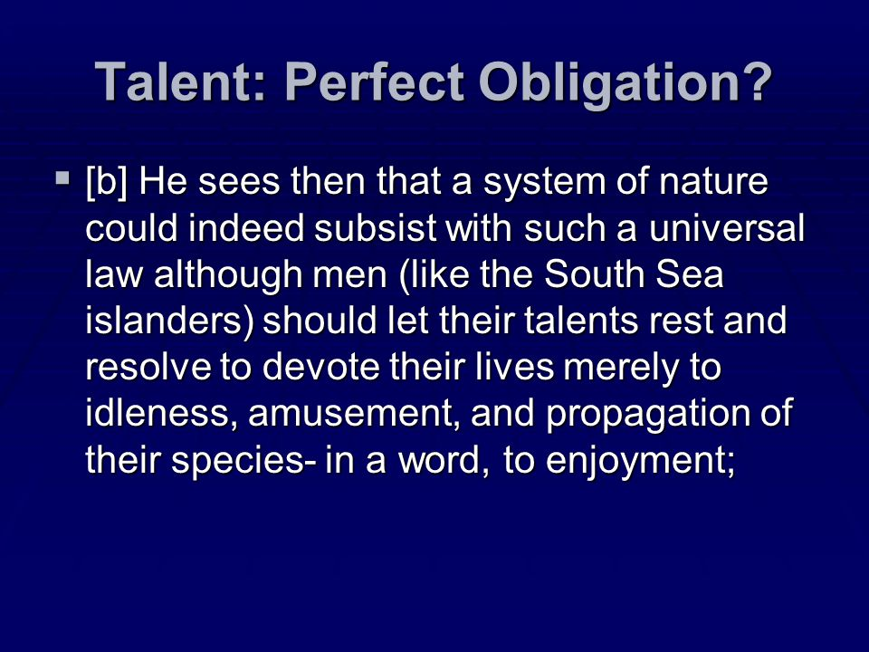 Talent: Perfect Obligation