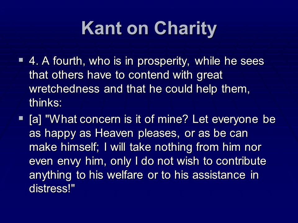 Kant on Charity
