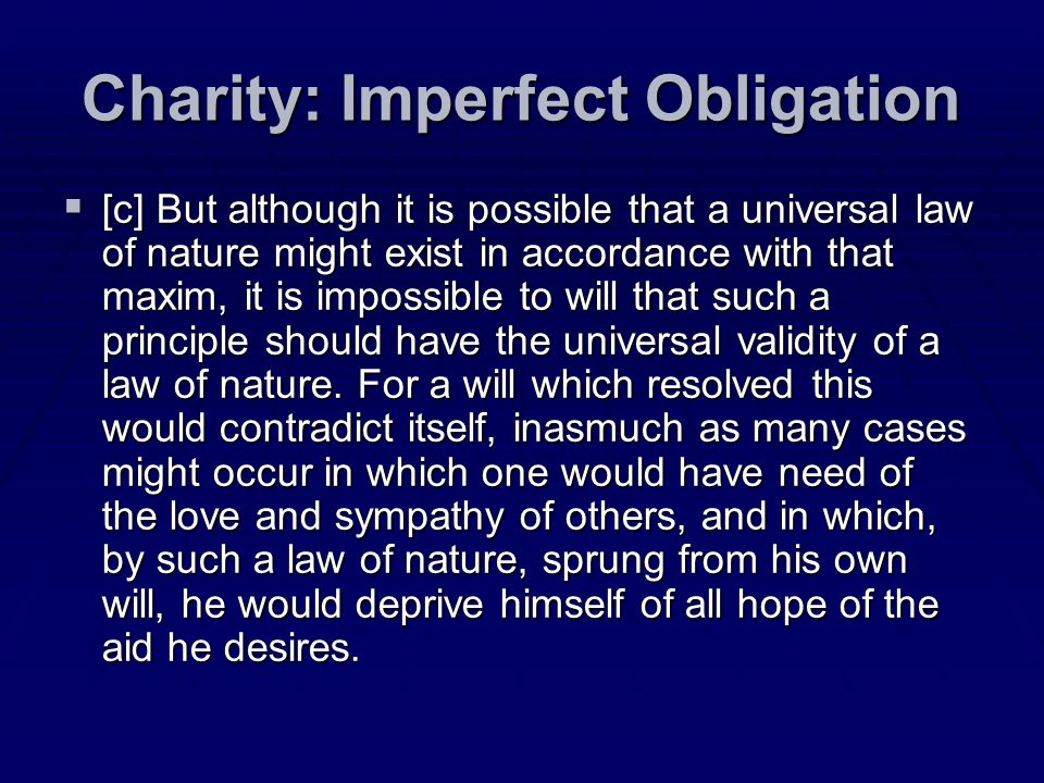 Charity: Imperfect Obligation