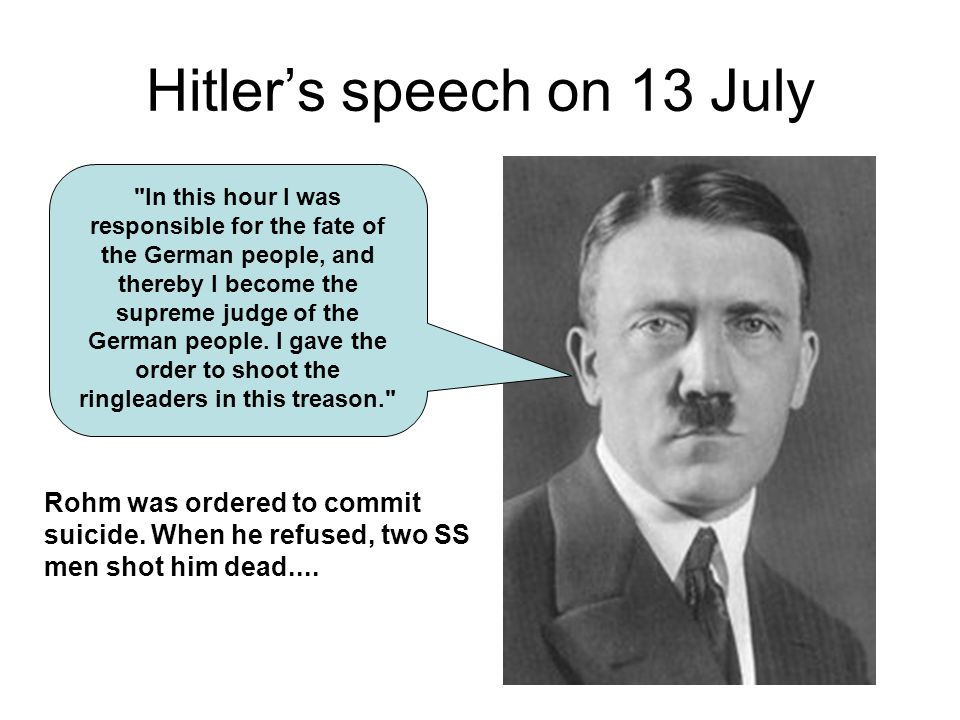 Hitler's speech on 13 July