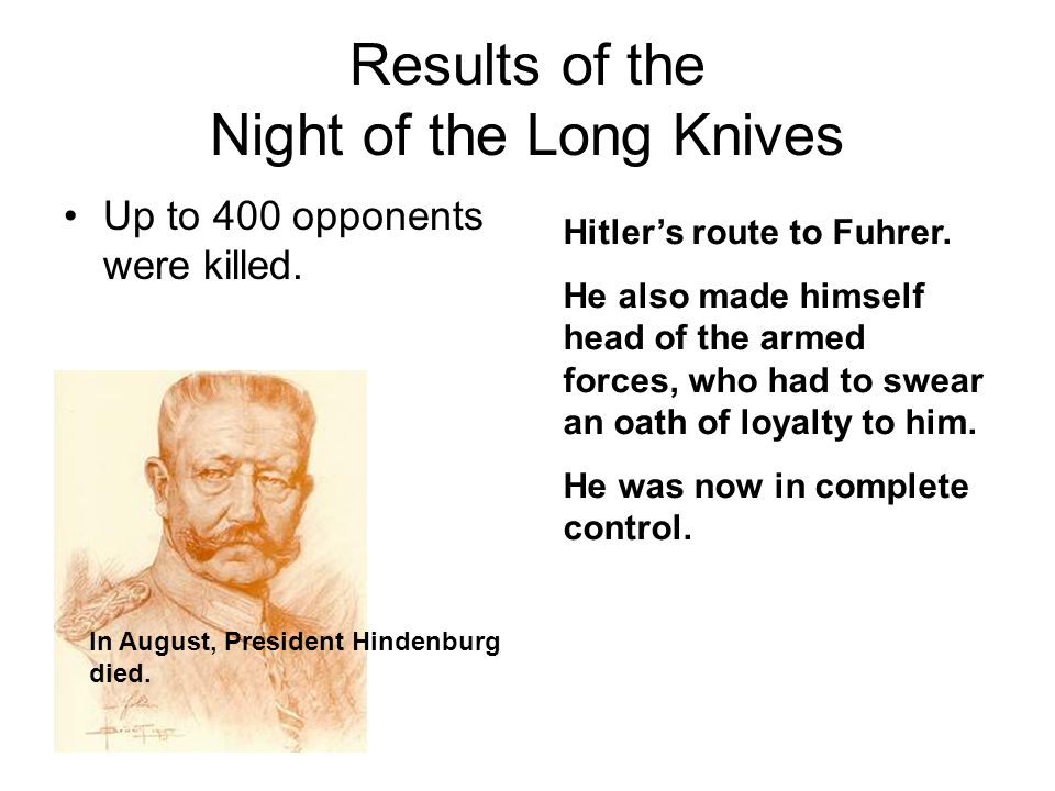 Results of the Night of the Long Knives