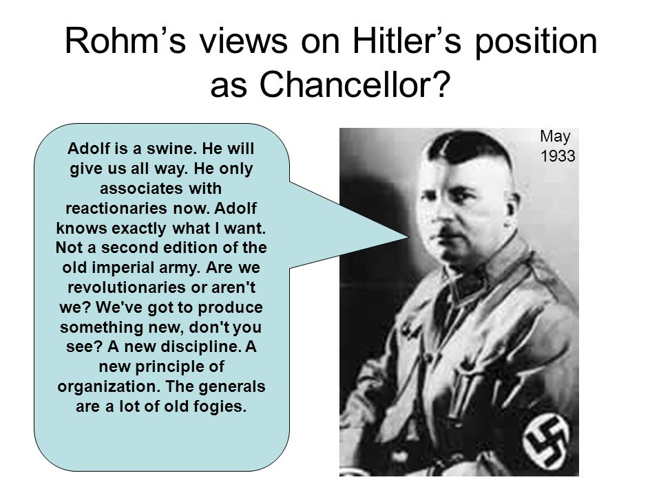 Rohm's views on Hitler's position as Chancellor