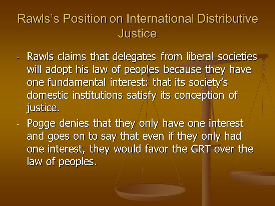 Rawls's Position on International Distributive Justice
