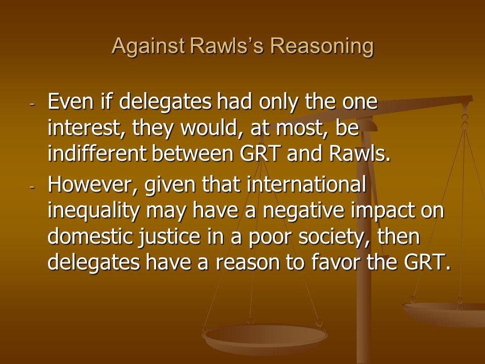 Against Rawls's Reasoning