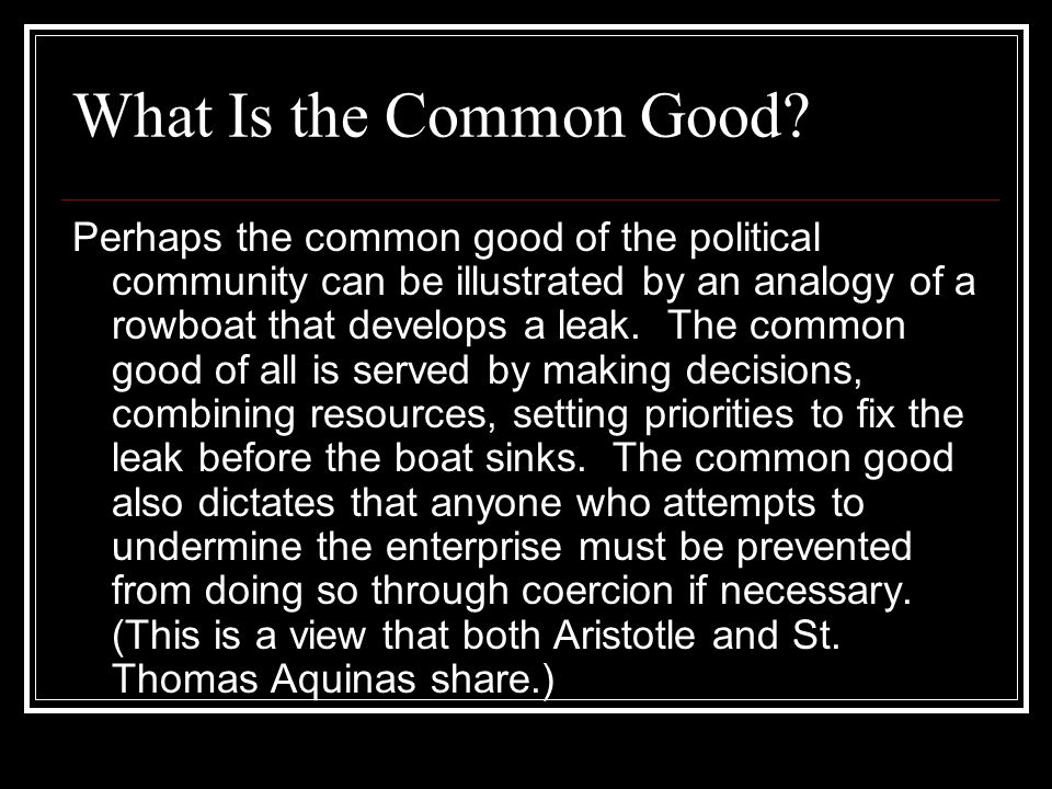 What Is the Common Good