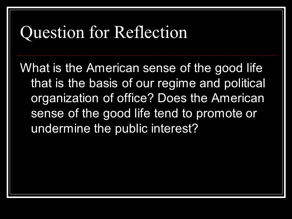 Question for Reflection