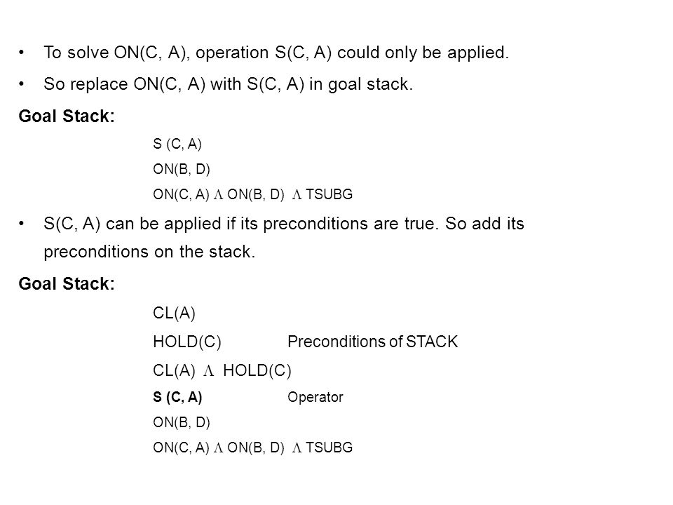 To solve ON(C, A), operation S(C, A) could only be applied.
