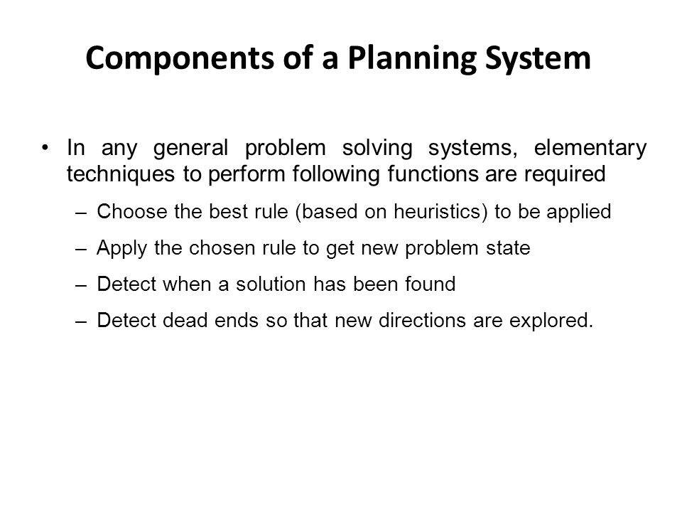 Components of a Planning System