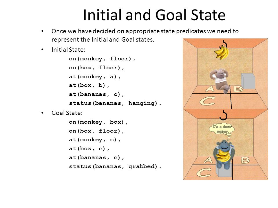 Initial and Goal State Once we have decided on appropriate state predicates we need to represent the Initial and Goal states.