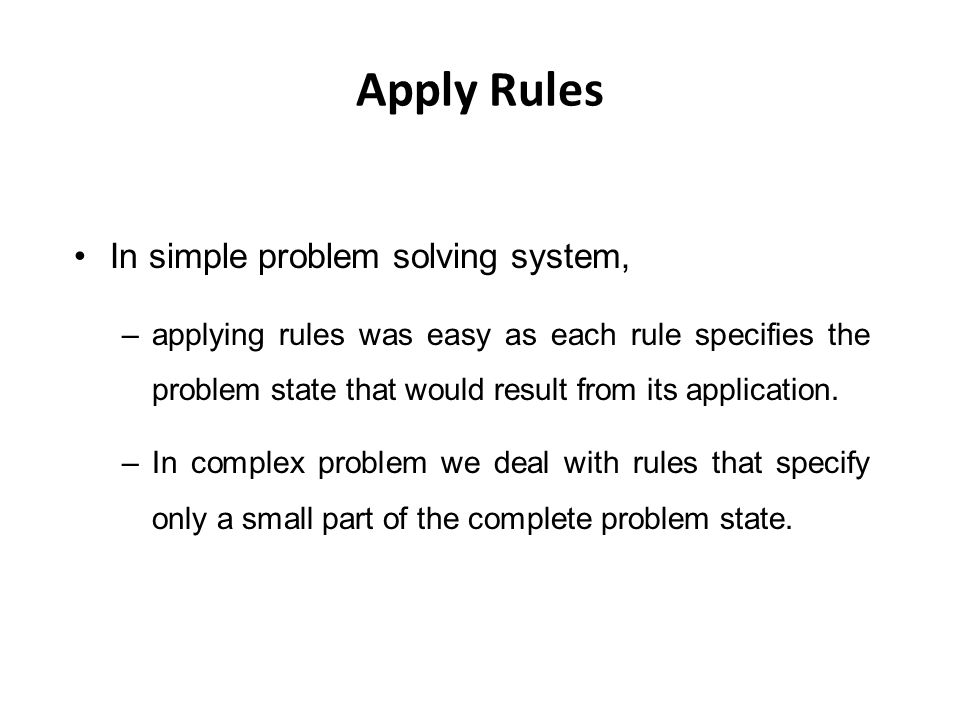 Apply Rules In simple problem solving system,