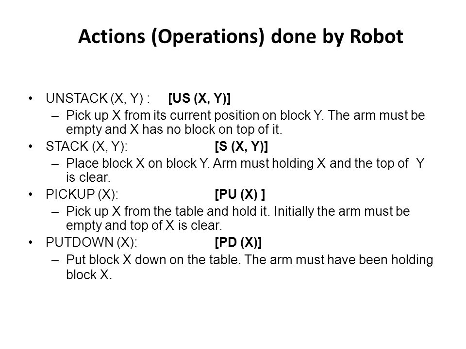 Actions (Operations) done by Robot
