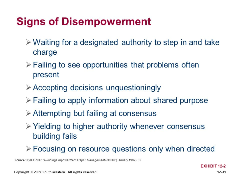 Signs of Disempowerment