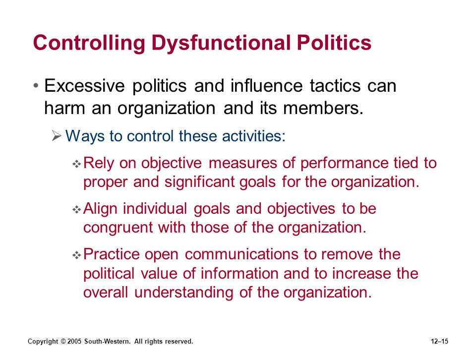 Controlling Dysfunctional Politics